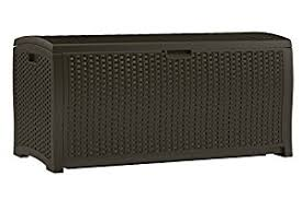 amazon com suncast dbw9200 mocha resin wicker deck box 99 gallon