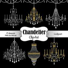 Chandelier Clipart Rhinestone Clip Art Party Gold And Silver Glitter Instant Digital Download PNG Format Business Use From Inclipart
