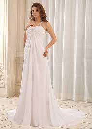 halter top wedding dress simple chiffon bridal gown beaded corset