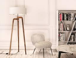 Iris Modern Wooden Tripod Floor Lamp