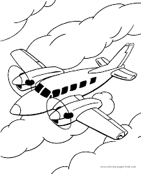 Airplane Flying In The Clouds Colouring Page