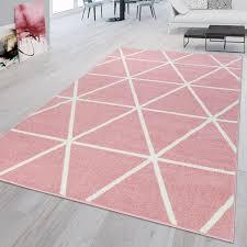 wohnzimmer teppich pink rosa weiß rauten muster pastell