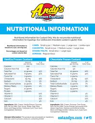 Pumpkin Pie Blizzard Calories Mini by Nutritional Information U2014 Andy U0027s Frozen Custard Ice Cream