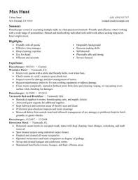 Housekeeper Hotel And Hospitality Thumbnail Resume Examples