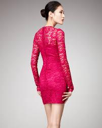 dolce u0026 gabbana long sleeve lace dress in pink lyst