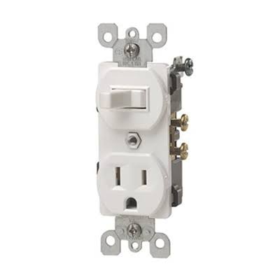 Leviton Commercial Grade Combination Single Pole Toggle Switch and Receptacle - Ivory, 15 Amp