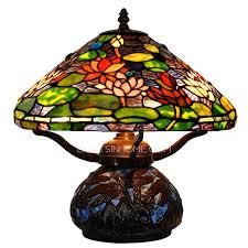 Rustic Lotus Shaped Tiffany Style Table Lamp Alloy Base