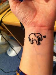 Black Henna Elephant With Heart Tattoo On Wrist