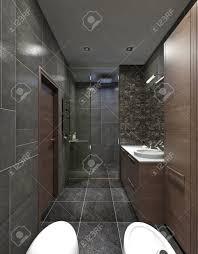 das bad ist im stil des konstruktivismus moderne badezimmermöbel in braun schwarze wände in fliesen und mosaik 3d übertragen
