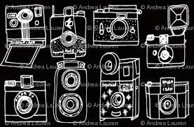 Vintage Cameras Black And White Hand Drawn Camera Illustration