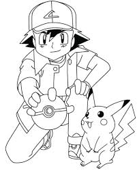 Coloring Ash And Pages Pokemon Pikachu Colouring Pictures