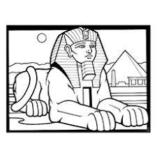 Sphinx Mythological Creature Tutankhamen Mask Coloring Page To Print
