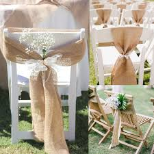17cm X 275cm Naturally Vintage Burlap Chair Sashes Jute Tie Bow For Rustic Wedding Decorations