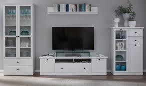 wohnwand weiß landhaus wohnzimmer schrankwand 370 cm vitrine beleuchtung baxter
