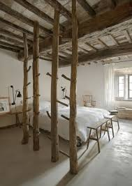 Splendid Barn Wooden Exposed Ceiling Beam And Column Also White Cover King Size Bed In Vintage Rustic Bedroom Designs
