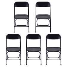 Details About 5 Plastic Folding Chairs Wedding Banquet Seat Premium Party  Event Chair Black US