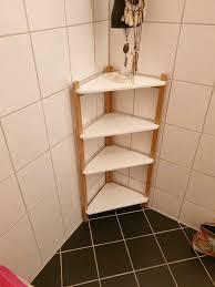 badregal eckregal regal badezimmer weiß bambus