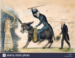 NThe Moderen Balaam And His Ass An American Cartoon Placing The Blame For Panic Of 1837 Perilous State Banking System On Outgoing
