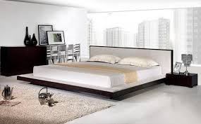 modern platform bed with fabric headboard contemporary bedroom