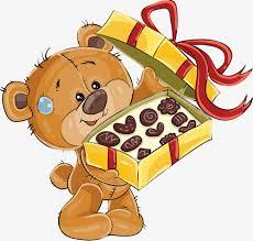 Cartoon bear holding a chocolate box Cartoon Bear Chocolate Free PNG Image