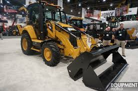 cat backhoe caterpillar intros f2 series backhoes with sweeping cab redesign