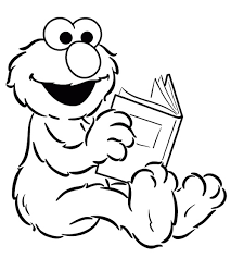 Elmo Reading Book Coloring Page