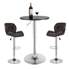 Amazon.com - Pub Table Set 3 Piece - 24 Inch Round Table With 2 ...