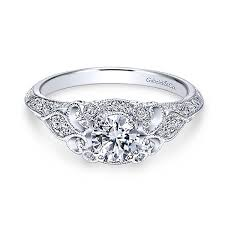 Gabriel Abel 14k White Gold Round Halo Engagement Ring