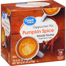 Keurig 20 Pumpkin Spice Latte by Great Value Pumpkin Spice Cappuccino Mix Naturally Flavored Single