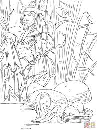 Miriam And Baby Moses Coloring Page From Category Select 24848 Printable Crafts Of Cartoons Nature Animals Bible Many More