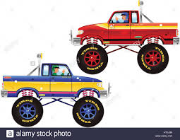 100 Trucks Plus Two Illustrations Of Monster Trucks Plus Drivers From A Side View