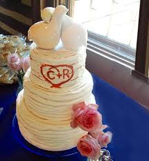Carrot Cake With Cream Cheese Icing A Rustic Weeping Meringue Ruffle And Blue Satin Ribbon Tiered Lemon Cakes Tinted Buttercream
