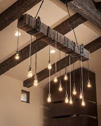 rustic wooden beam industrial chandelier cabin beams and house