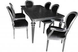 casa padrino design esszimmerset schwarz silber ausziehbar esstisch 6 stühle