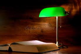 Antique Bankers Lamp Green by Antique Library Study Book And Old Banker Lamp Stock Image Image