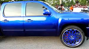 Candy Blue Chevy Silverado Truck On 26
