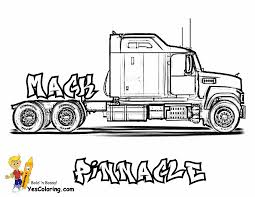 Cement Mixer Truck Transportation Coloring Pages Within Big Rig Free 18 Wheeler Boys Best Of