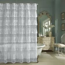 Pink Ruffle Blackout Curtains by Shower Curtains Pink Ruffle Shower Curtain Bathroom Decoration