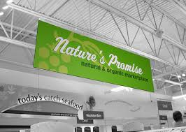 hanging signs banners grocery food ceiling signage displays