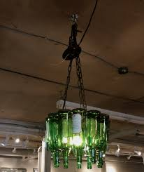 Home Made Green Wine Bottle Pendant Lamp With Wrought Iron Chain F As Well Lights Diy