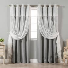 Aurora Home Mix & Match Tulle Sheer With Attached Valance And Blackout  4-piece Curtain Panel Pair Best Home Fashion Thermal Insulated Blackout Curtains Back Tab Rod Pocket Beige 52w X 84l Set Of 2 Panels Shop Farmhouse Style Decor Point Valances Pretty Windows Discount Country Window Toppers Top Swags Galore Aurora Mix Match Tulle Sheer With Attached Valance And 4piece Curtain Panel Pair Post Taged Outlet Store Lined Scalloped Custom Treatments Draperies Page 1 Primitive Rustic Quilts Rugs Drapes More From The Lagute Snaphook Truecolor Hookless Shower Gray