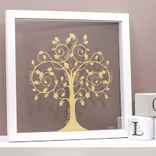 PERSONALISED PAPERCUT FAMILY TREE WALL ART Family Tree In Shimmering Gold