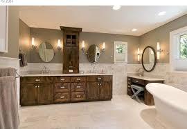 contemporary master bathroom with freestanding bathtub flat