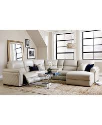 Sofia Vergara Sofa Collection by Jessi 6 Pc Leather Sectional Sofa With Chaise Center Console And