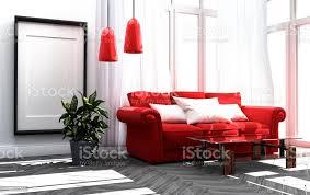 rotes sofa in einem wohnzimmer weiß wand hintergrund 3drendering stockfoto und mehr bilder architektur