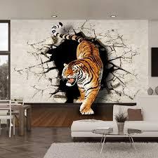 3d stereo lebensechte tiger gebrochen wand foto wandbild tapete wohnzimmer esszimmer moderne persönlichkeit decor nicht woven tapeten