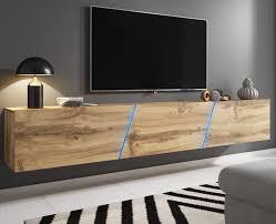tv lowboard slant in eiche wotan tv unterteil hängend und stehend board 240 cm inkl led beleuchtung