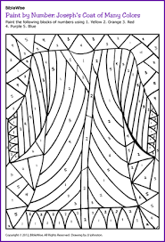 Students Will Enjoy Filling In This Color By Number Of Josephs Coat Find Pin And More On Childrens Bible Coloring Pages