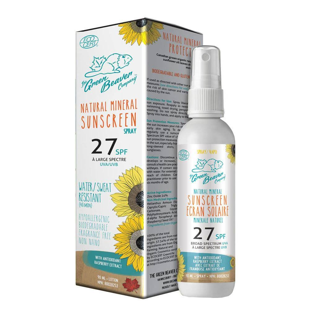 Green Beaver Co SPF 27 Natural Sunscreen Spray, 90 ml