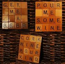 scrabble coasters made out of floor tiles for the home